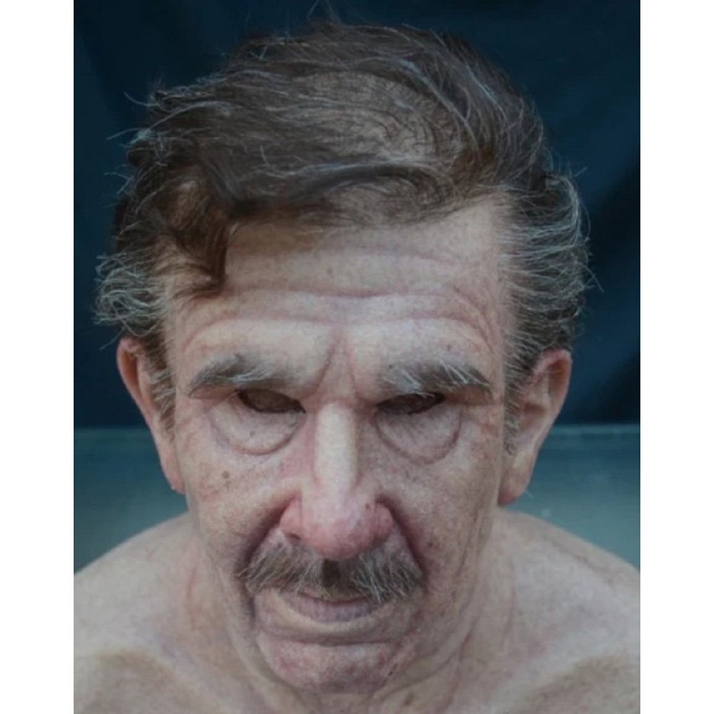 Old Man Mask Moving Mouth Headgear for Halloween Party Performance Prop Old man with hair