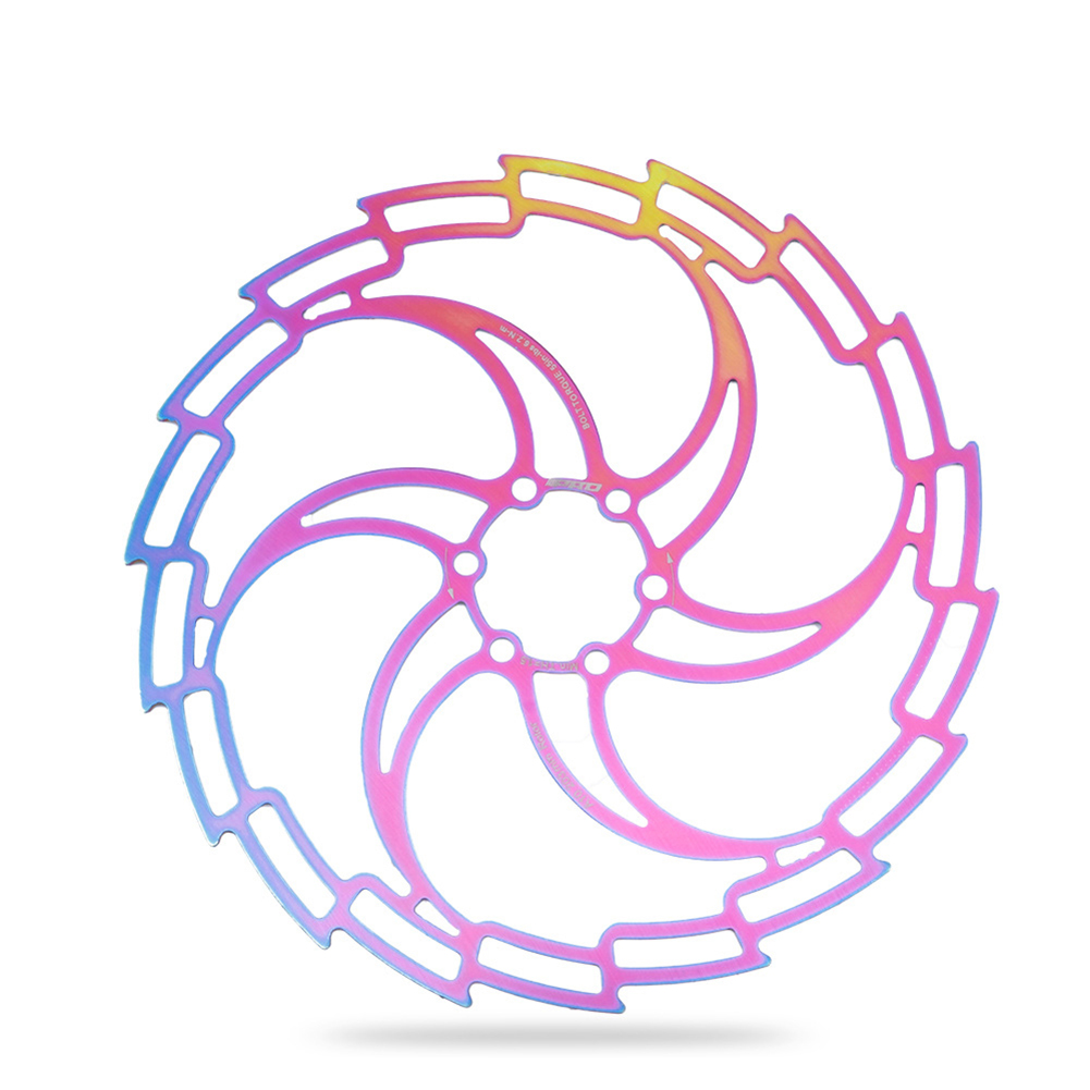 CNC Mountain Bike Cycling Brake Disc Floating Rotor 160/180/203mm Rotors MTb Bicycle Accessories Tools 203MM colorful hollow