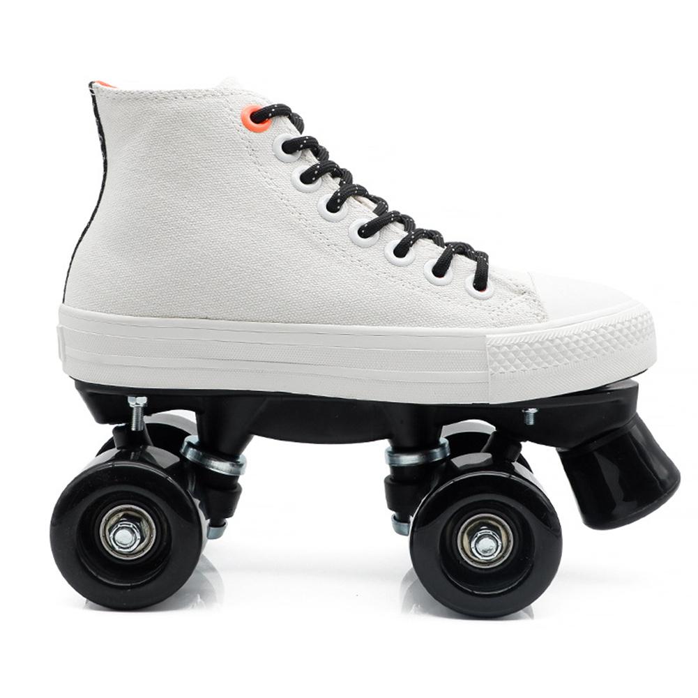1 Pair Double-line Four-wheel Roller  Skates Canvas Skates Shoes Skating Accessories White + black non-flashing wheel_38