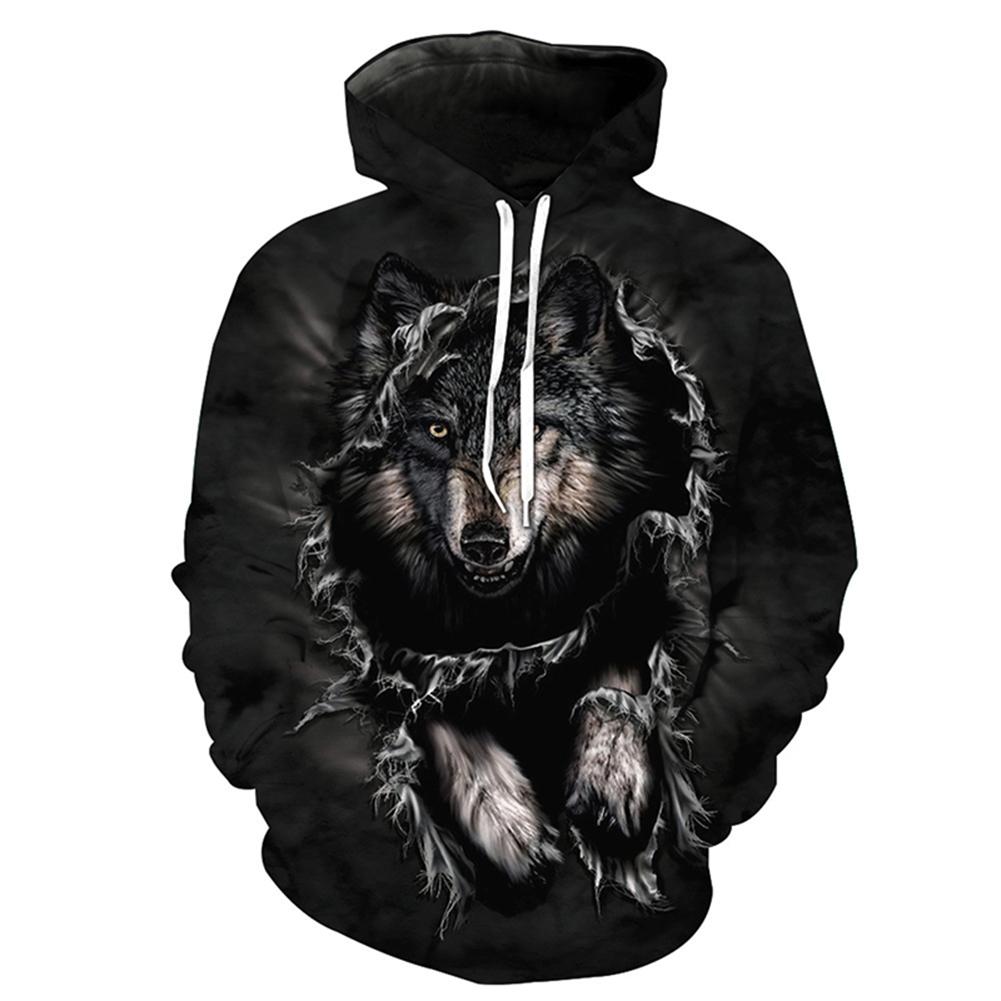 Halloween 3D Printed Wolf Hoodie Leisure Hooded Pullover Men/Women Sweatshirt black wolf_XXL