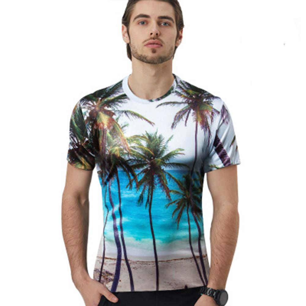 Unisex Coconut Tree 3D Digital Print Loose Short Sleeve Round Collar Large Size T-shirt Coconut Tree _M