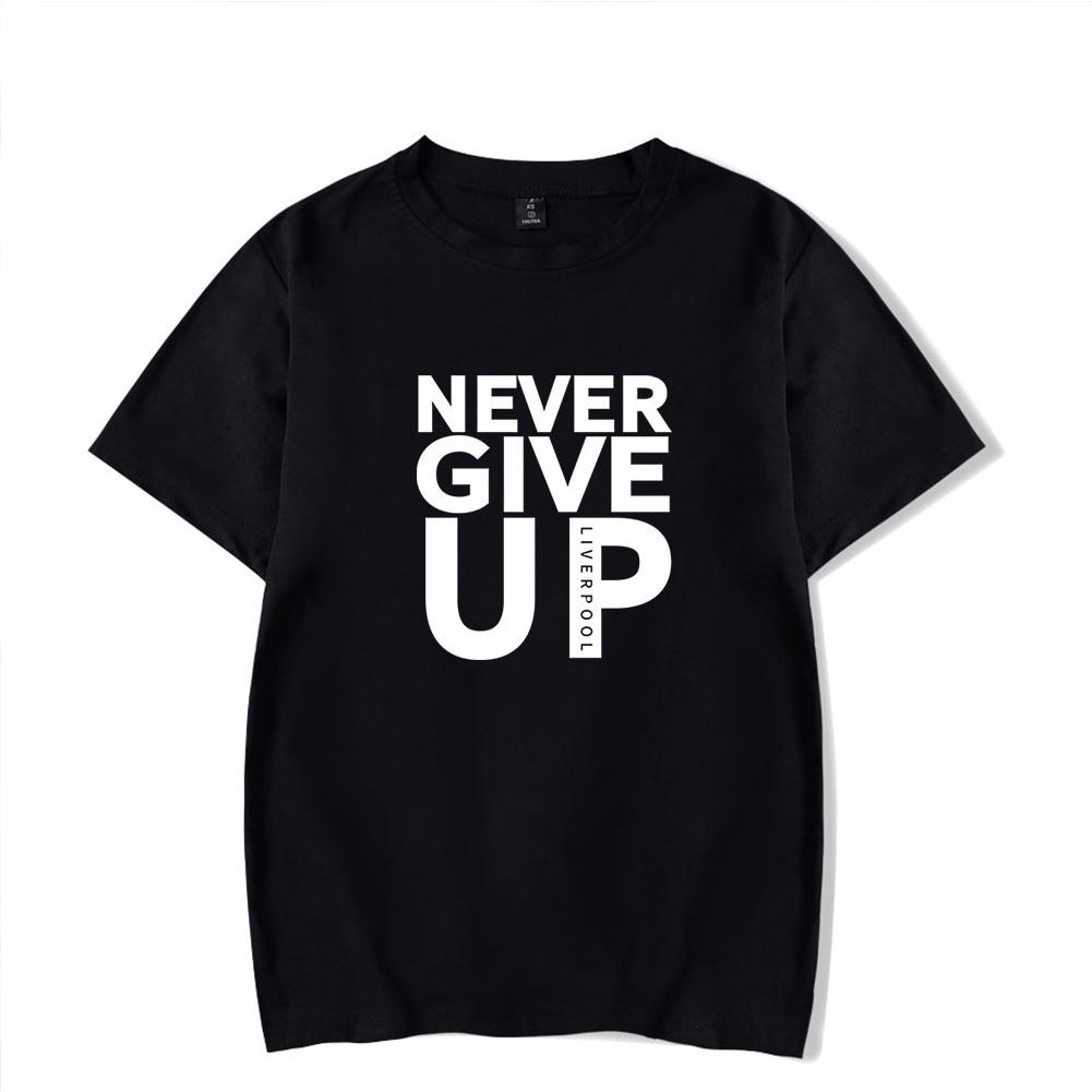 Men Women Summer Casual NEVER GIVE UP Letter Printing Short Sleeve Loose T-shirt black_XXXL