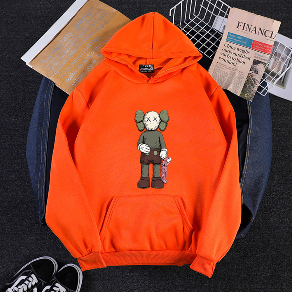 Men Women Hoodie Sweatshirt KAWS Cartoon Standing Doll Thicken Autumn Winter Loose Pullover Orange_L
