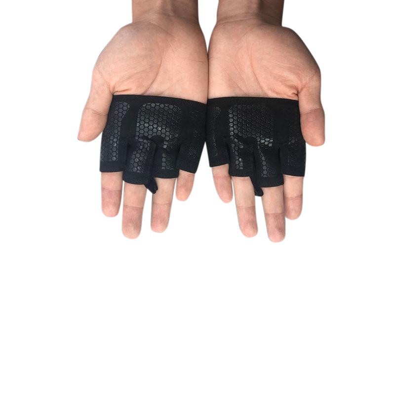 Women Anti-Skid Half Finger Yoga Gloves Gym Training Fitness Shock-Absorbing Breathable Sports Gloves Black S