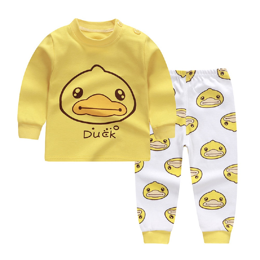 2pcs Kids Girl Boy Long Sleeve Round Collar Tops+Long Trousers Home Wearing Clothes Suits Autumn set of yellow ducklings_100/65  #