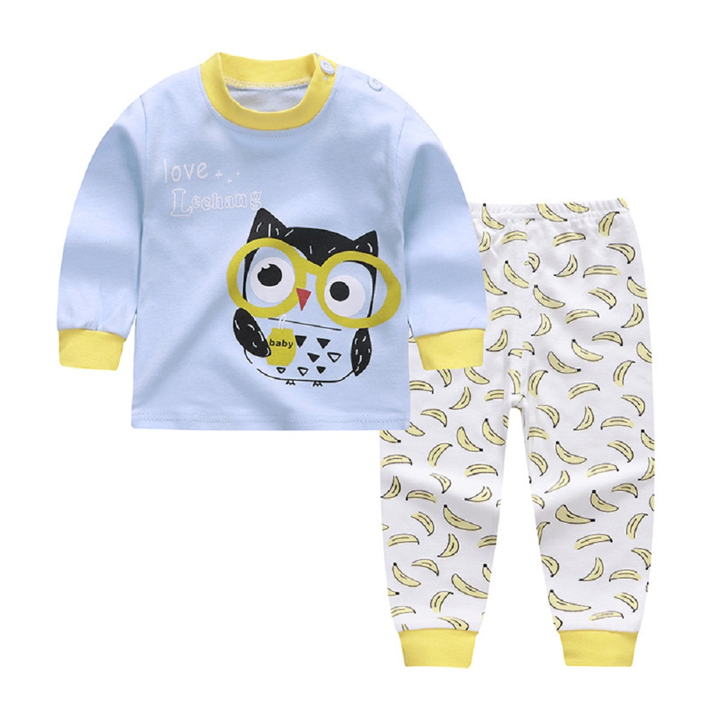 2pcs Kids Girl Boy Long Sleeve Round Collar Tops+Long Trousers Home Wearing Clothes Suits Autumn set of owls_100/65  #