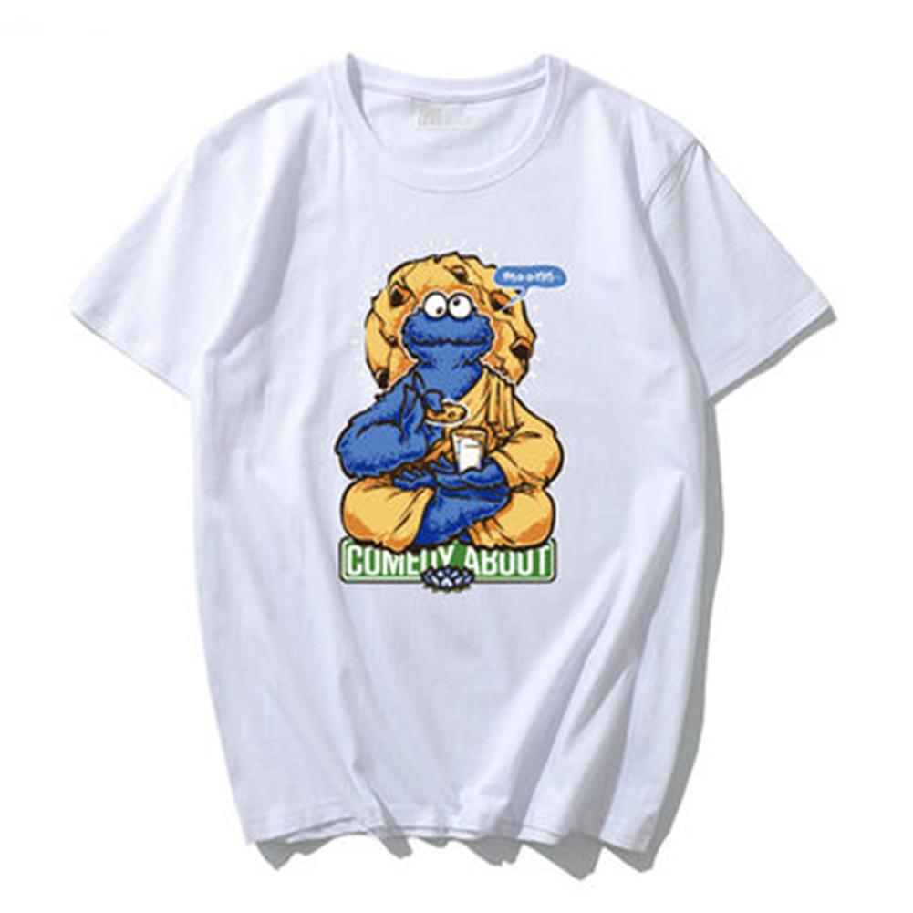 Summer Fashion Popular Cotton KAWS Cartoon Printing Short Sleeve T-shirt for Couples KAWS (01) white_M