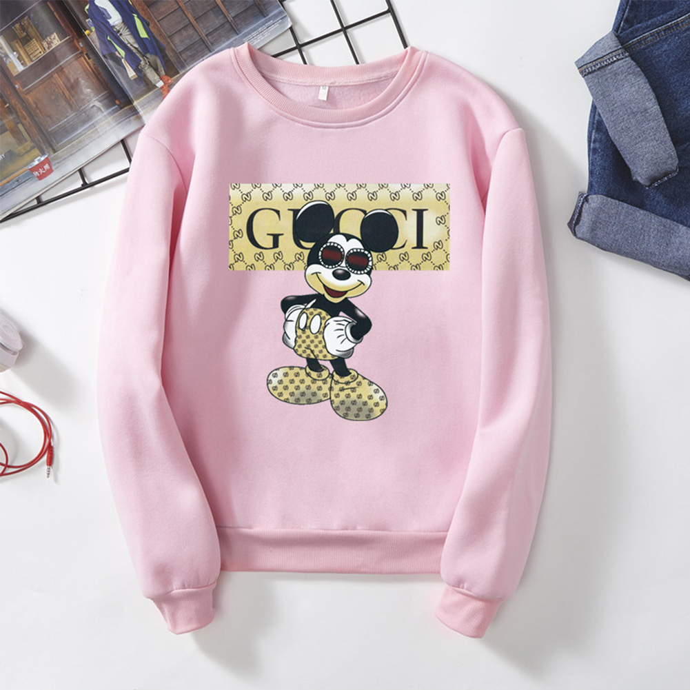 Men Cartoon Sweatshirt Micky Mouse Autumn Winter Loose Student Couple Wear Pullover Pink_2XL