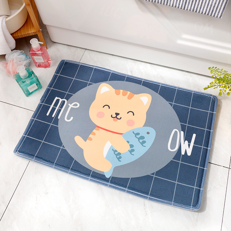 Thicken Cartoon Partoon Water Absorption Nonslip Mat for Home Bedroom Kitchen Toilet