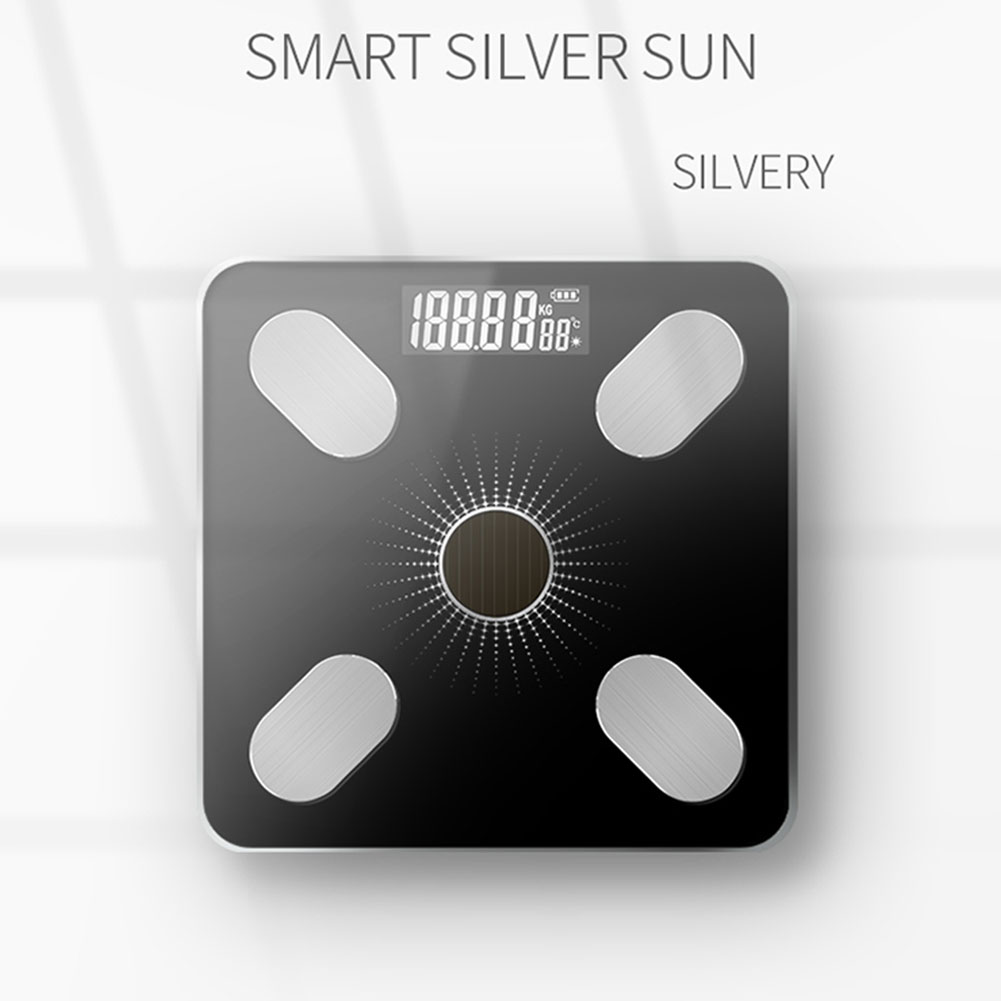 Solar Charging APP Bluetooth Intelligent Electronic Weight Balance Body Fat Scale Support for  Android or IOS Mang solar charging_Silver light