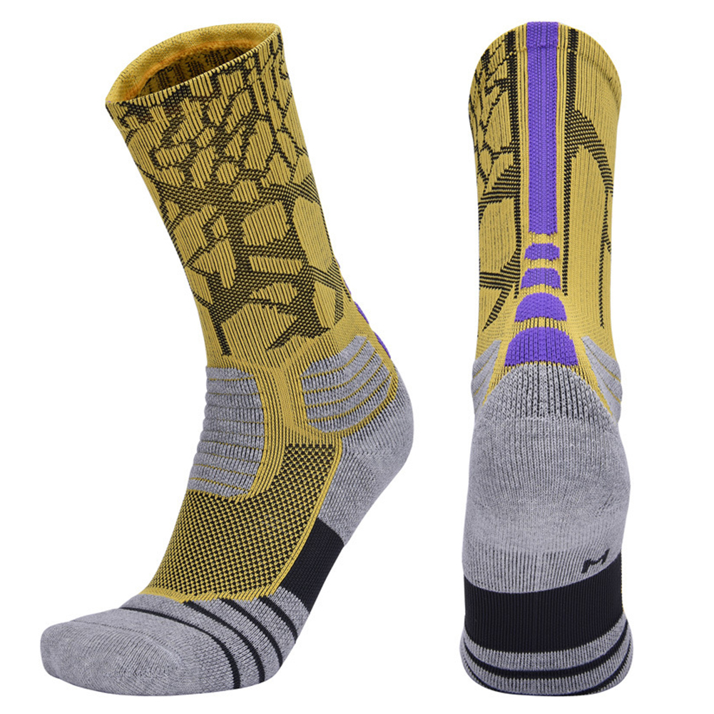 Professional Basketball Socks Thick Sports Non-slip Skateboard Towel Bottom Socks yellow purple_XL[43-46]
