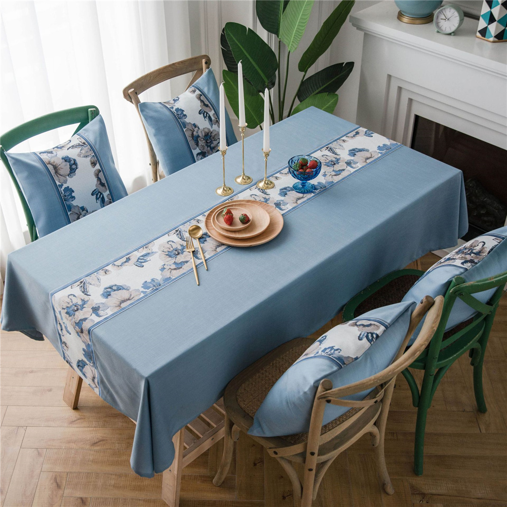 Waterproof Table  Cloth Decorative Fabric Embroidery Table Cover For Outdoor Indoor Blue flower embroidery_135*200cm