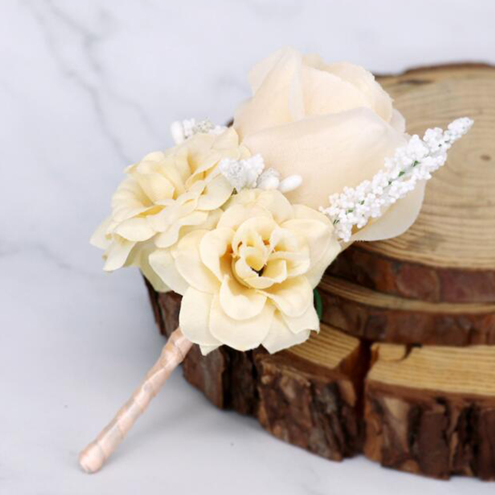 Artificial Wrist Flower /Corsage for Wedding Party Bride Bridegroom Accessories Gold champagne brooch