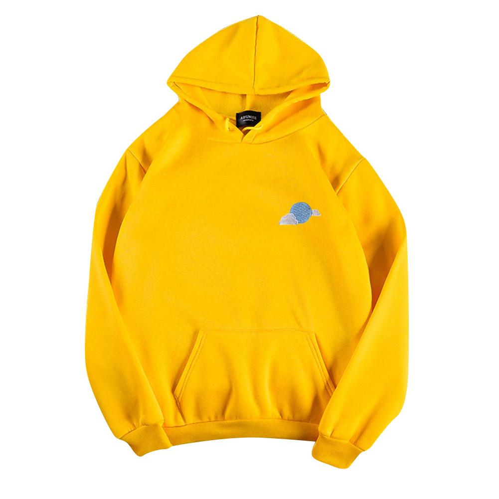 Men Women Hoodie Sweatshirt Thicken Velvet Loose Cloud Autumn Winter Pullover Tops Yellow_XXXL