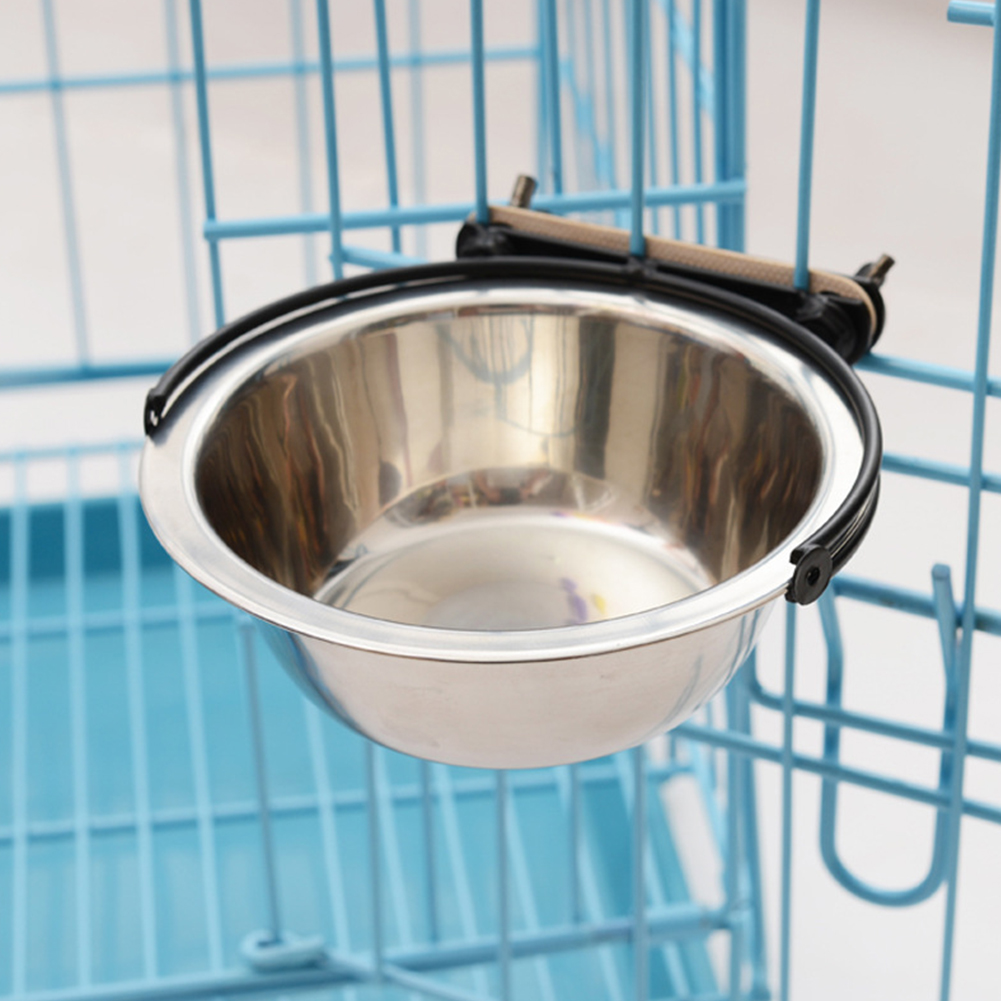 Stainless Steel Cage Hanging Pet Bowl for Dogs Feeding Watering  11cm