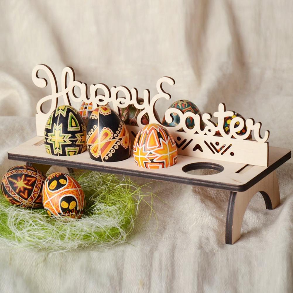 DIY Wooden Happy Easter Egg Holder Decoration