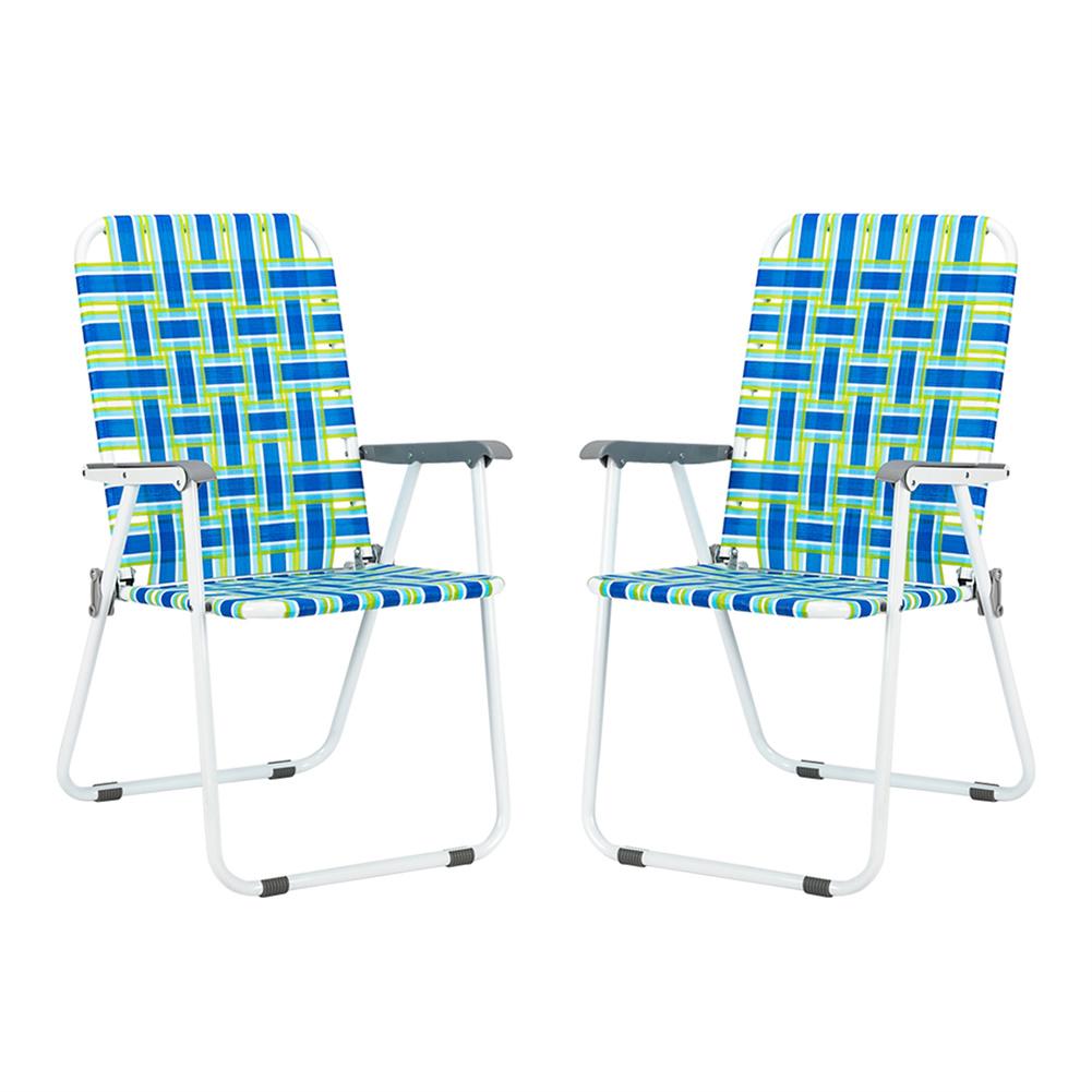 [US Direct] 2pcs Strip Beach  Chair Steel Pipe Pp Webbing 120kg Folding Beach Seat Chair blue strips