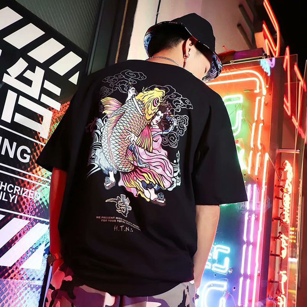 Men And Women Couple Summer Colorful Fish Printing Short-sleeved T-shirt Tops black_XL