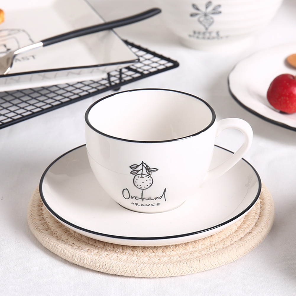 2pcs/set Ceramic Cup+Saucer Elegant Pattern Coffee Tea Mug for Home Family Restaurant