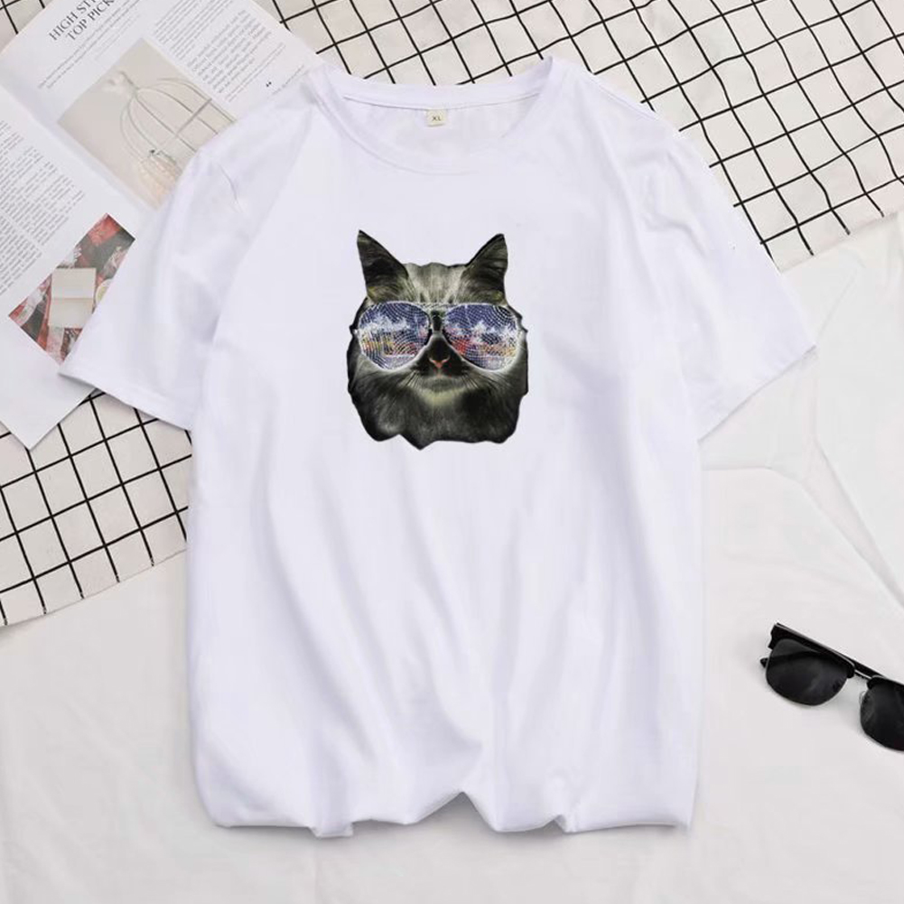 Short Sleeves and Round Neck Shirt Leisure Pullover Top with Animal Pattern Decorated 6105 white_L