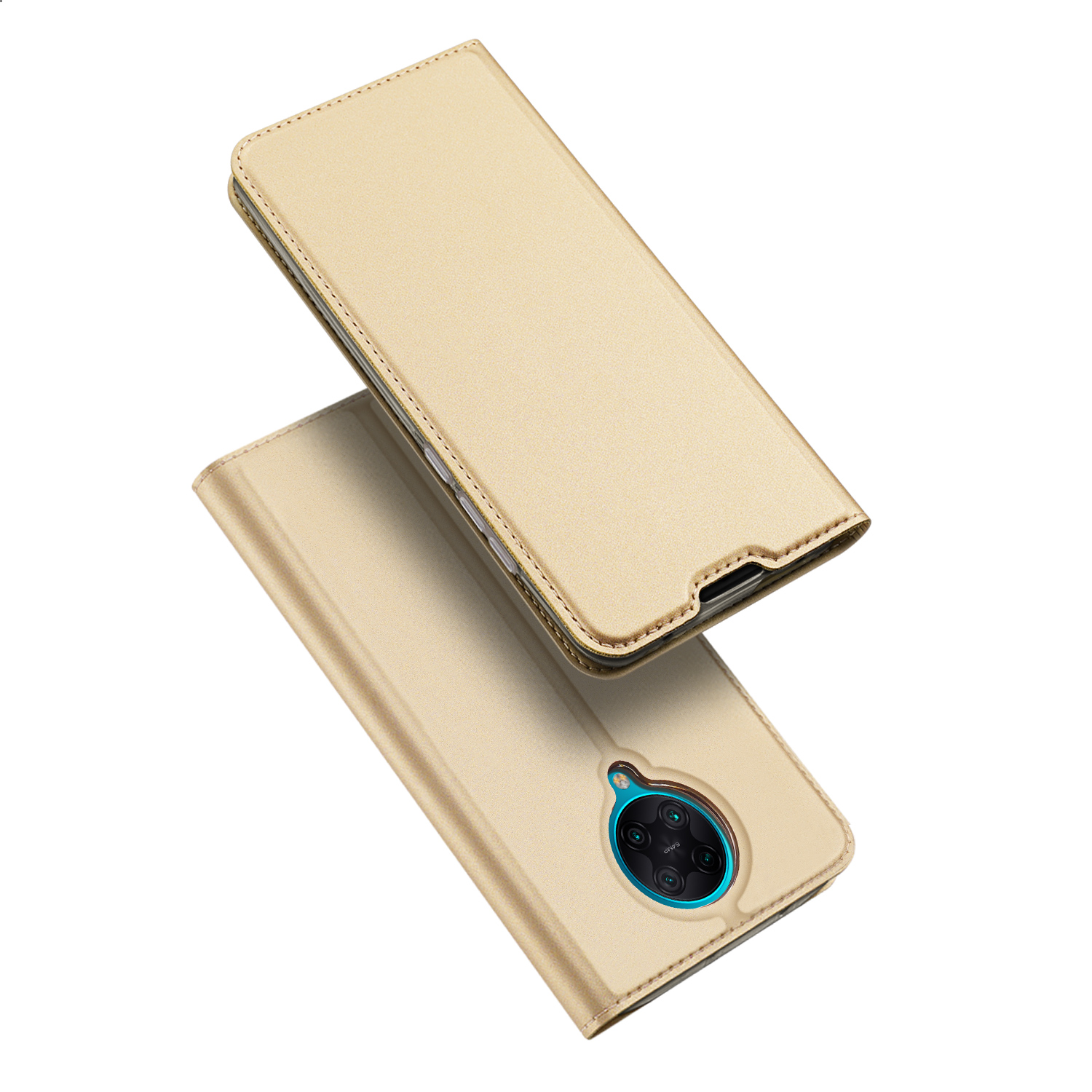 DUX DUCIS For Redmi K30 Pro Leather Mobile Phone Cover Magnetic Protective Case Bracket with Cards Slot Golden