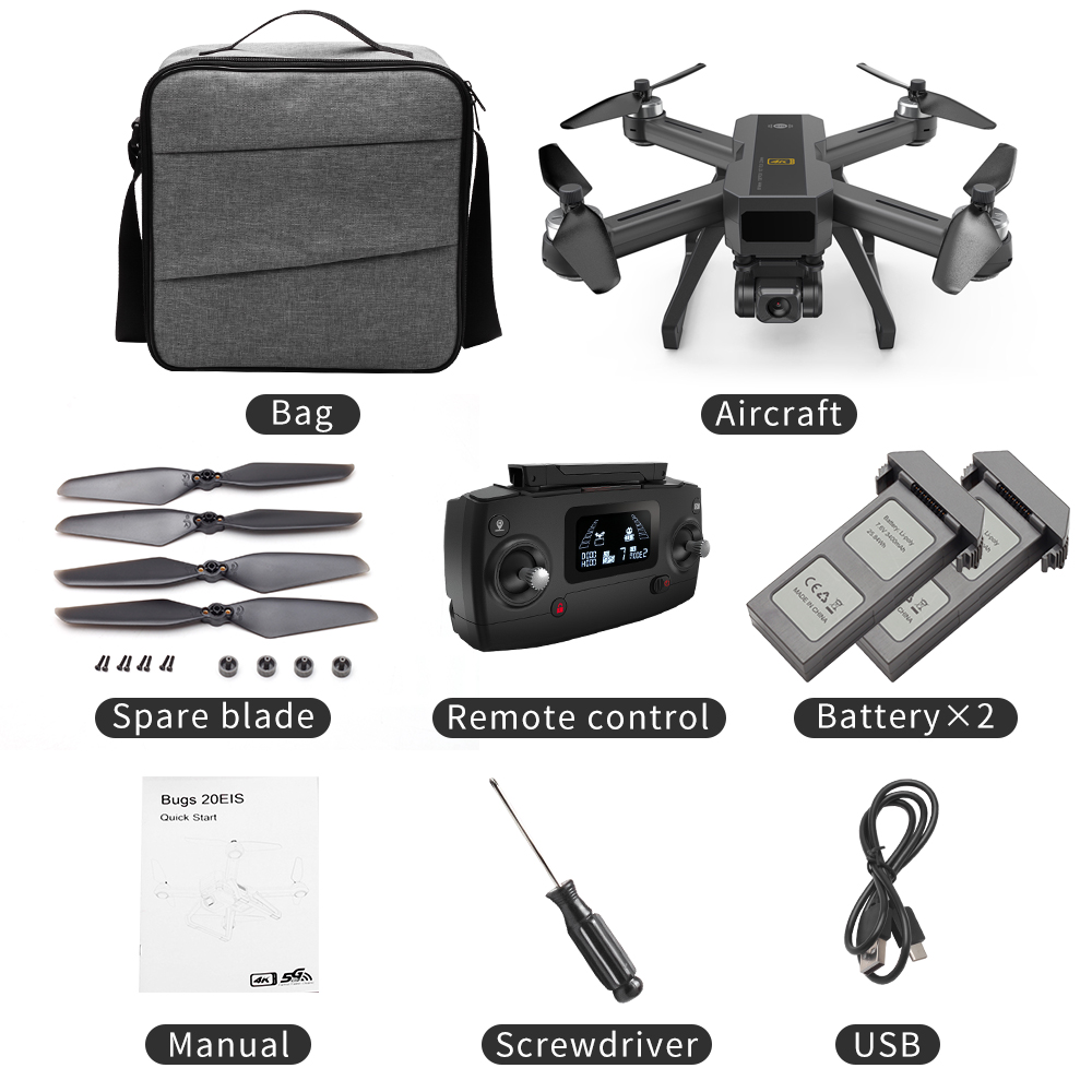 MJX B20 EOS With 4K 5G WIFI Adjustable Camera Optical Flow Positioning Brushless RC Quadcopter Drone RTF Storage bag 2 batteries
