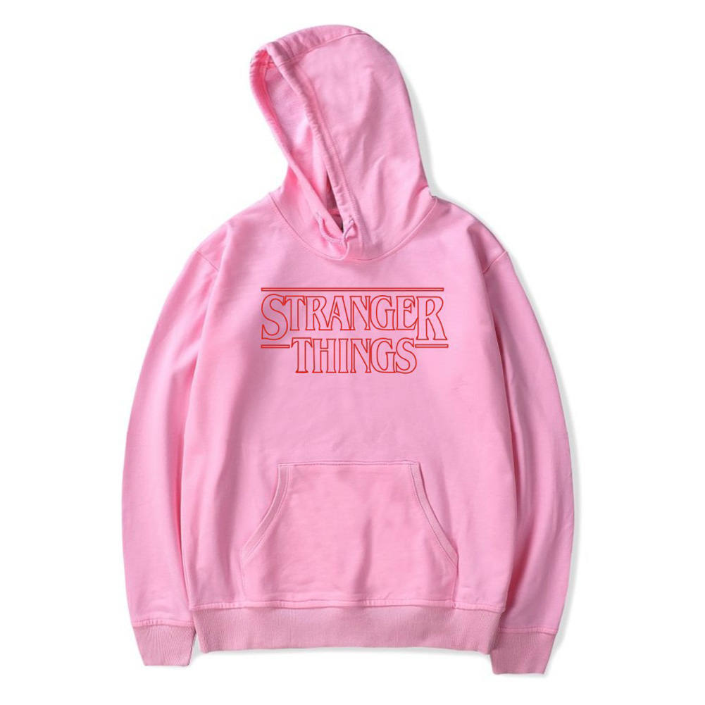 Men Fashion Stranger Things Printing Thickening Casual Pullover Hoodie Tops Pink-_4XL