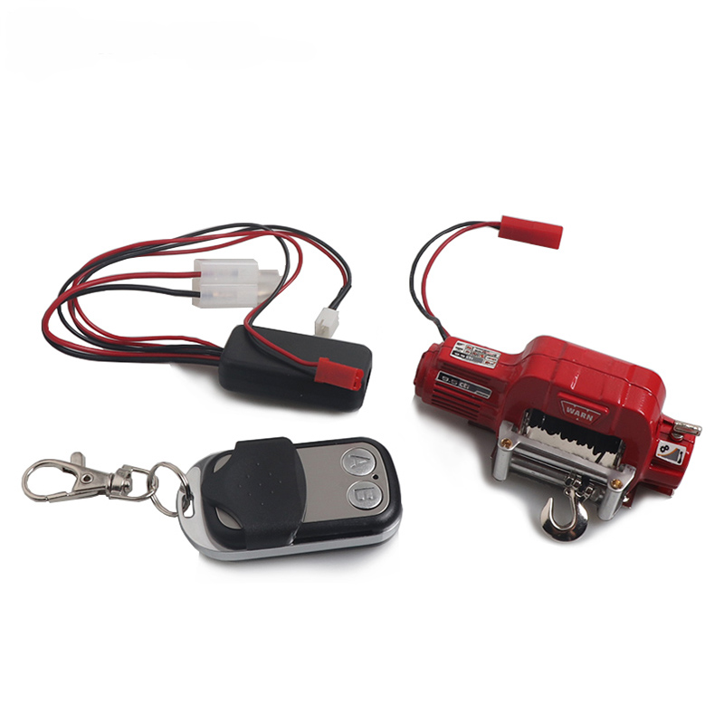 Automatic Winch Wireless Remote Controller Receiver for 1/10 RC Crawler Car Axial SCX10 TRAXXAS TRX4 D90 TF2 Tamiya CC01 Electric winch red + remote control