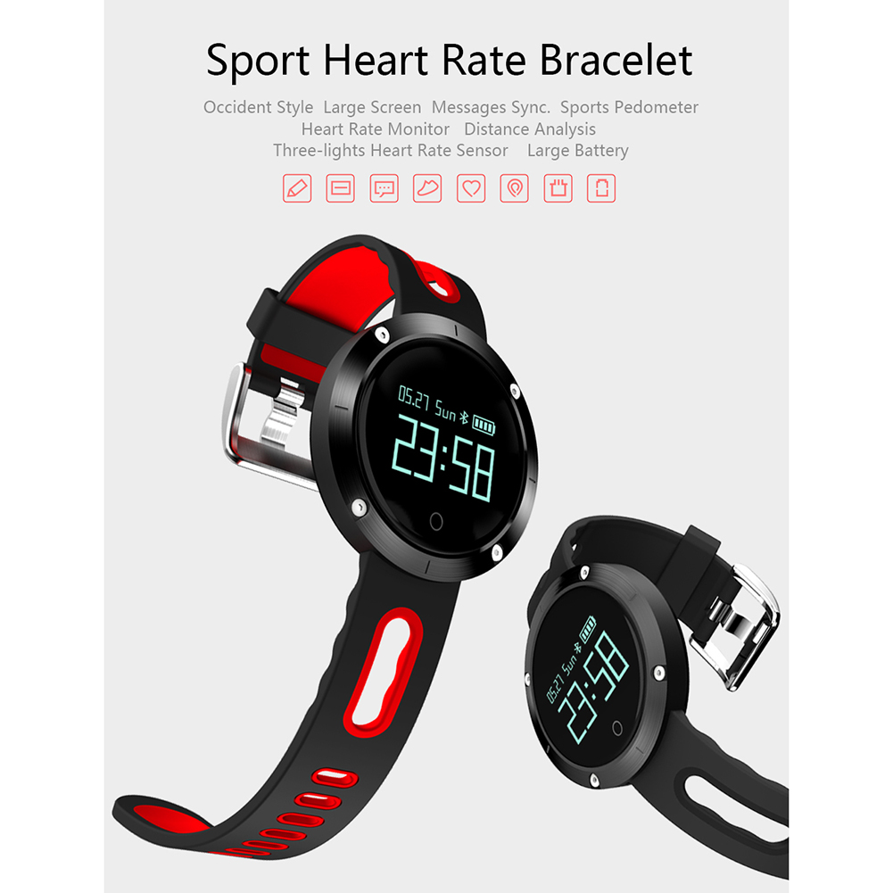 DOMINO DM58 0.95 Inch Round Display Screen Smart Bracelet Heart Rate Monitor Sport Wristband Fitness Tracker Smartwatch  (Red)