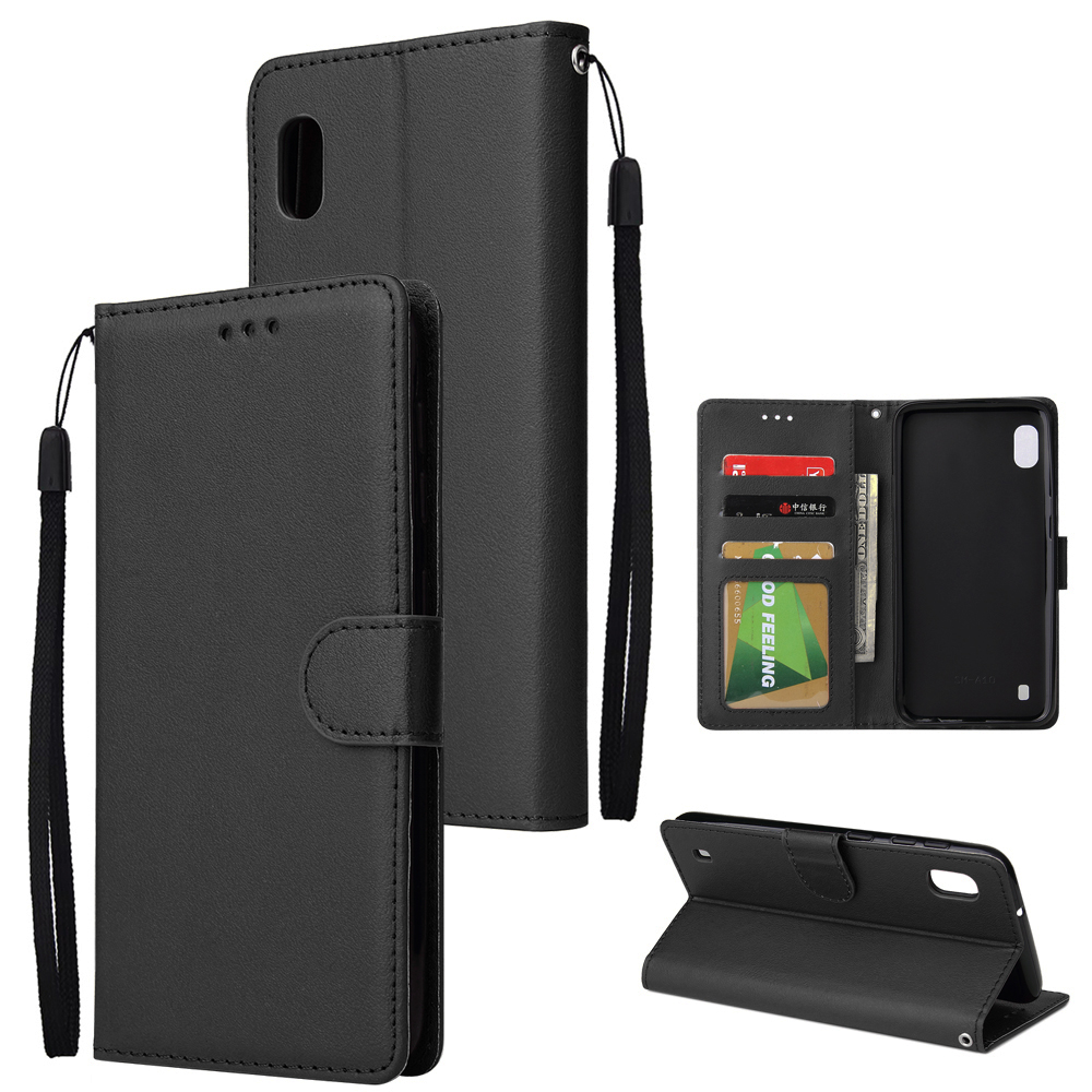 [Indonesia Direct] For Samsung A10 Flip-type Leather Protective Phone Case with 3 Card Position Buckle Design Phone Cover  black