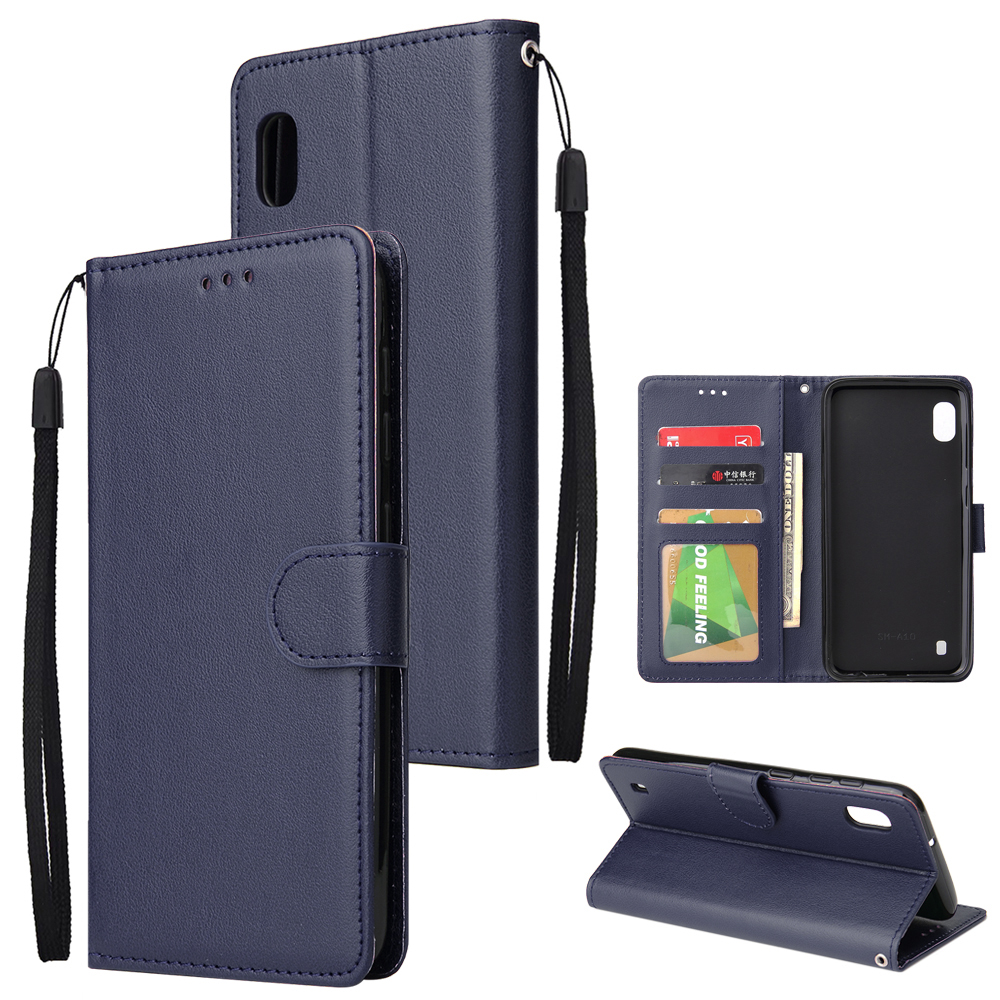 [Indonesia Direct] For Samsung A10 Flip-type Leather Protective Phone Case with 3 Card Position Buckle Design Phone Cover  blue