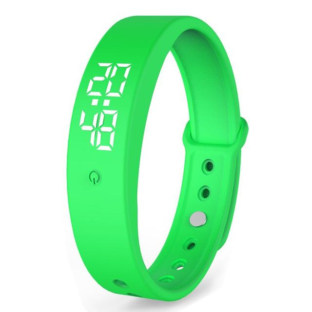 V9 Smart Temperature Measurement Bracelet Waterproof Intelligent Vibration Reminder Monitoring Body Temperature Timer green
