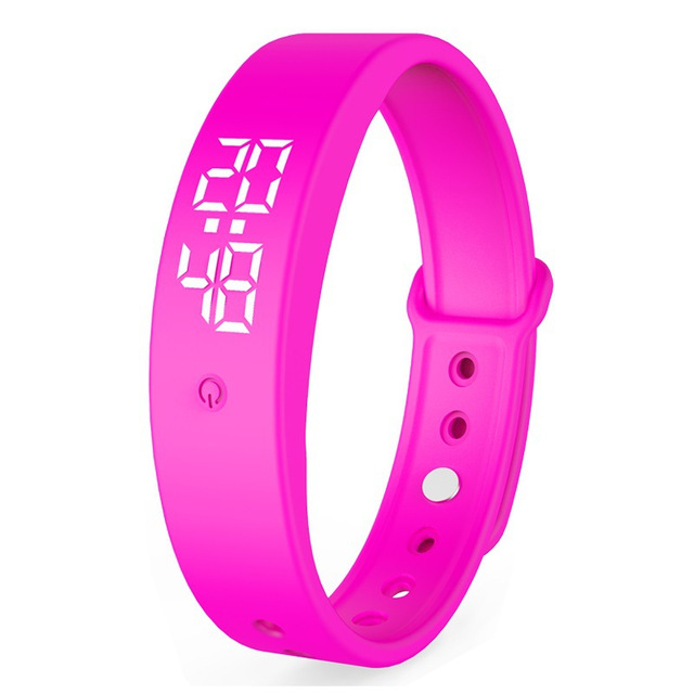 V9 Smart Temperature Measurement Bracelet Waterproof Intelligent Vibration Reminder Monitoring Body Temperature Timer Pink