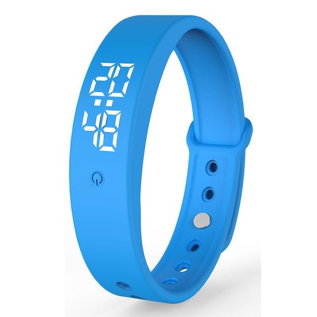 V9 Smart Temperature Measurement Bracelet Waterproof Intelligent Vibration Reminder Monitoring Body Temperature Timer blue