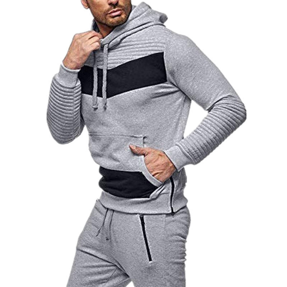 Men Leisure Stitch-color Sweater Long Sleeve Casual Hooded Hoodie Outdoor Sports Jacket  light grey_L