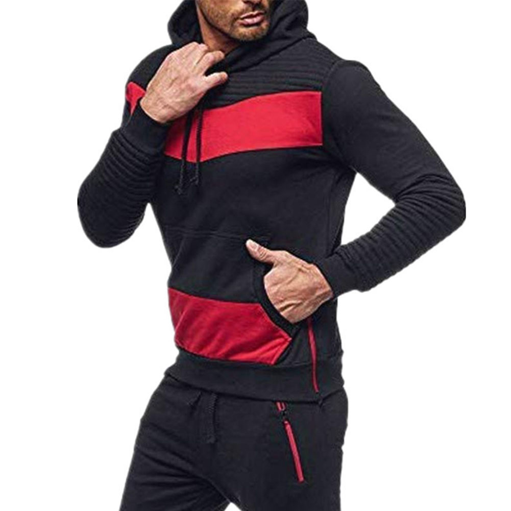 Men Leisure Stitch-color Sweater Long Sleeve Casual Hooded Hoodie Outdoor Sports Jacket  black_L