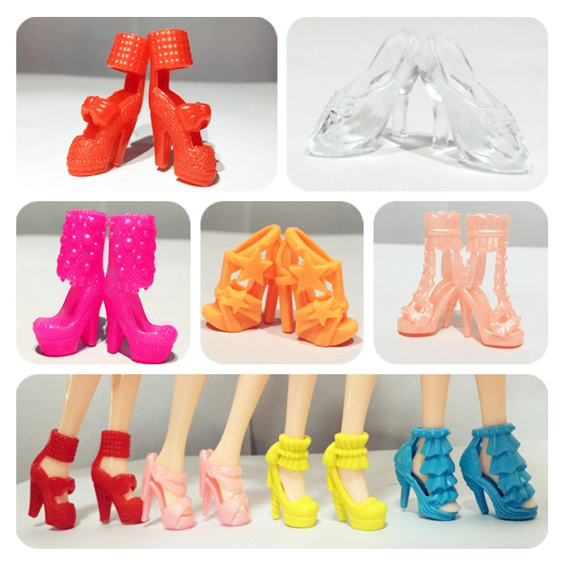 [EU Direct] 10 Pairs of Shoes Toy High Heel Shoes Boots Accessories for 11in doll (Style Random)
