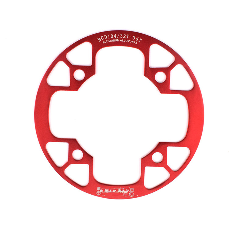 104bcd MTB Bicycle Chain Wheel Protection Cover Bicycle Protection Plate Guard Bike Crankset Full Protection Plate 32-34T red