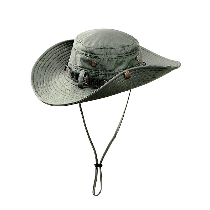 Men UV Protection Bucket Hat Fishing Climing Summer Fisherman Hat for Outdoor Cap dark green