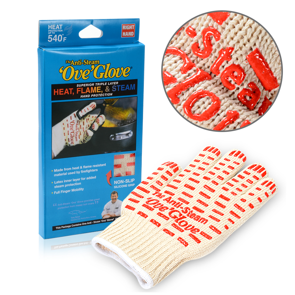 [EU Direct] 1pc Heat Resistant Anti Steam Oven Glove with Non-slip Red Silicone Grip for Cooking Baking Grilling Free Size F