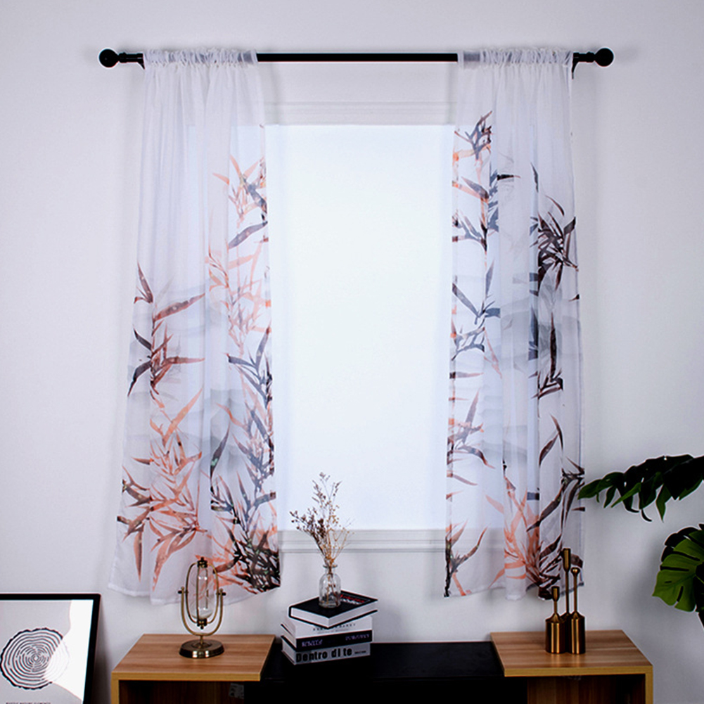 1 Pair Tulle Curtain Digital Bamboo Print Drapes for Home Living Room Balcony Decoration 135*200cm  As shown_W135cm * H200cm