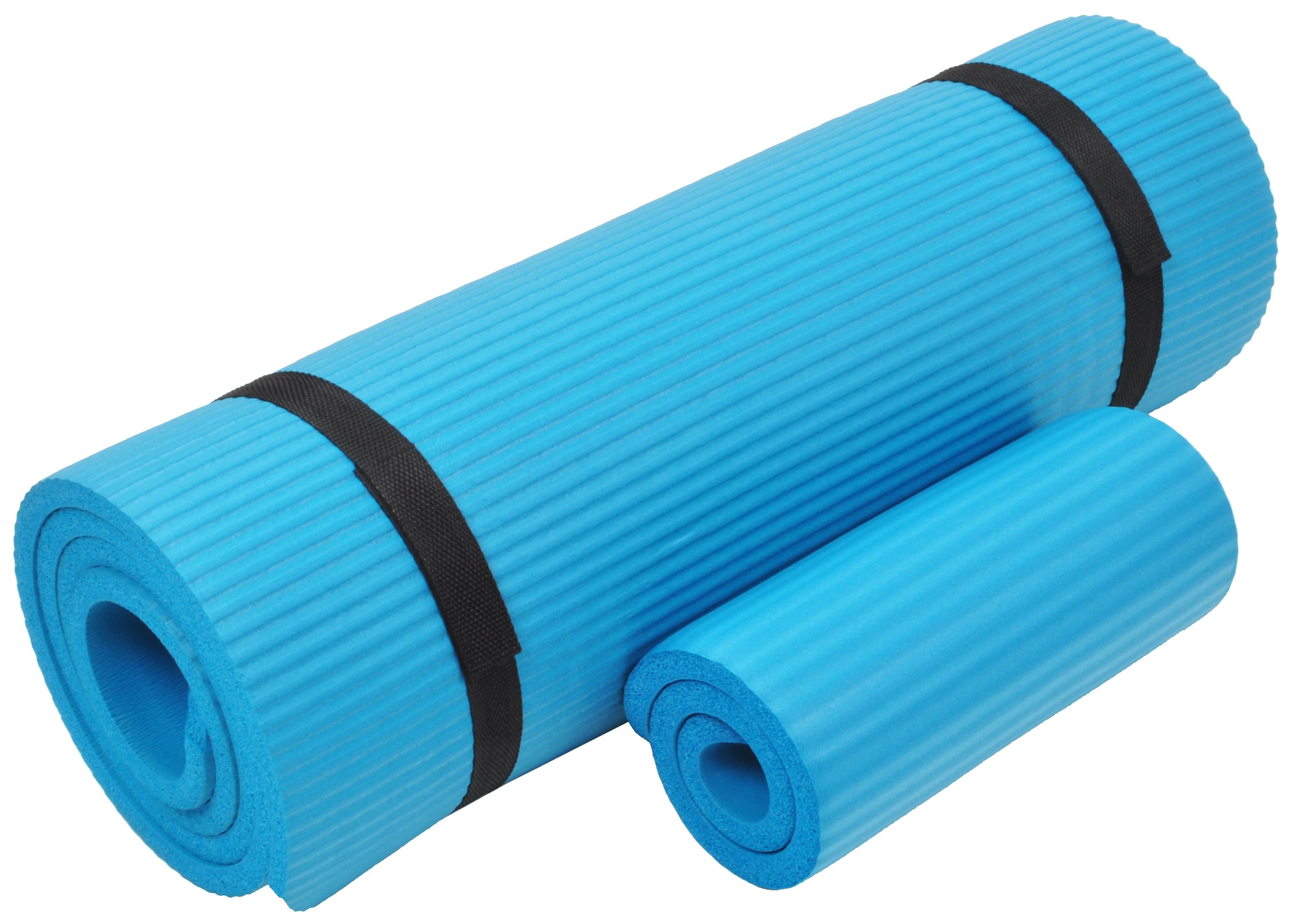 [US Direct] Original BalanceFrom GoYoga+ All-Purpose 1/2-Inch Extra Thick High Density Anti-Tear Exercise Yoga Mat and Knee Pad with Carrying Strap, Blue Blue
