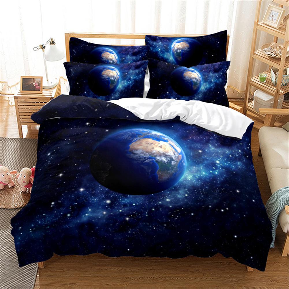 2Pcs/3Pcs Quilt Cover +Pillowcase 3D Digital Printing Starry Series Bedding Set King