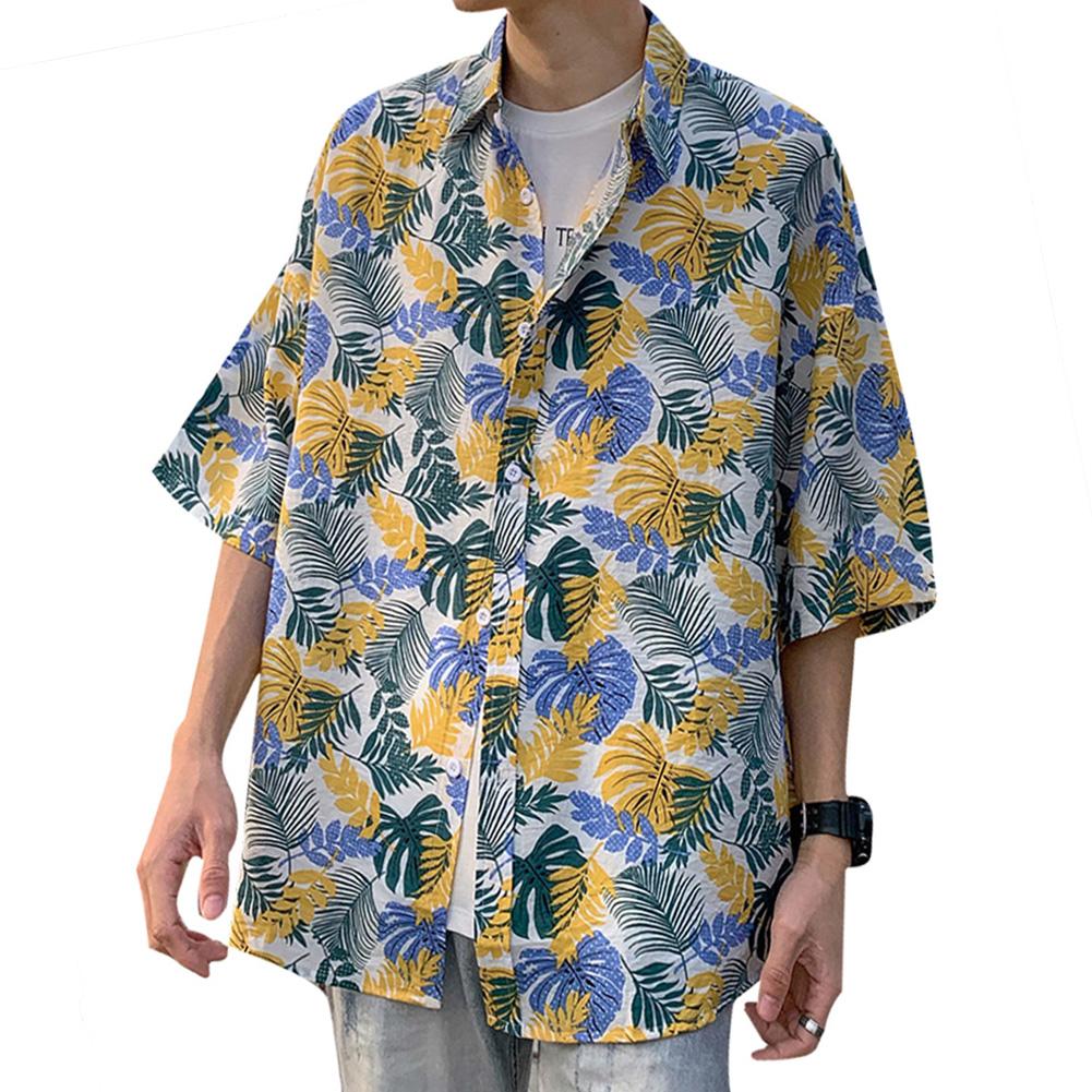 Women Men Leisure Shirt Personality Yellow Floral Printing Short Sleeve Retro Hawaii Beach Shirt Top Summer C114 #_L