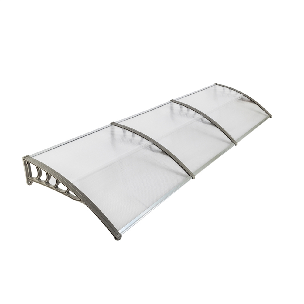 [US Direct] 300 X 100 Household Application Door Window Rain Cover Eaves  Canopy Mini Shelter Transparent board gray bracket