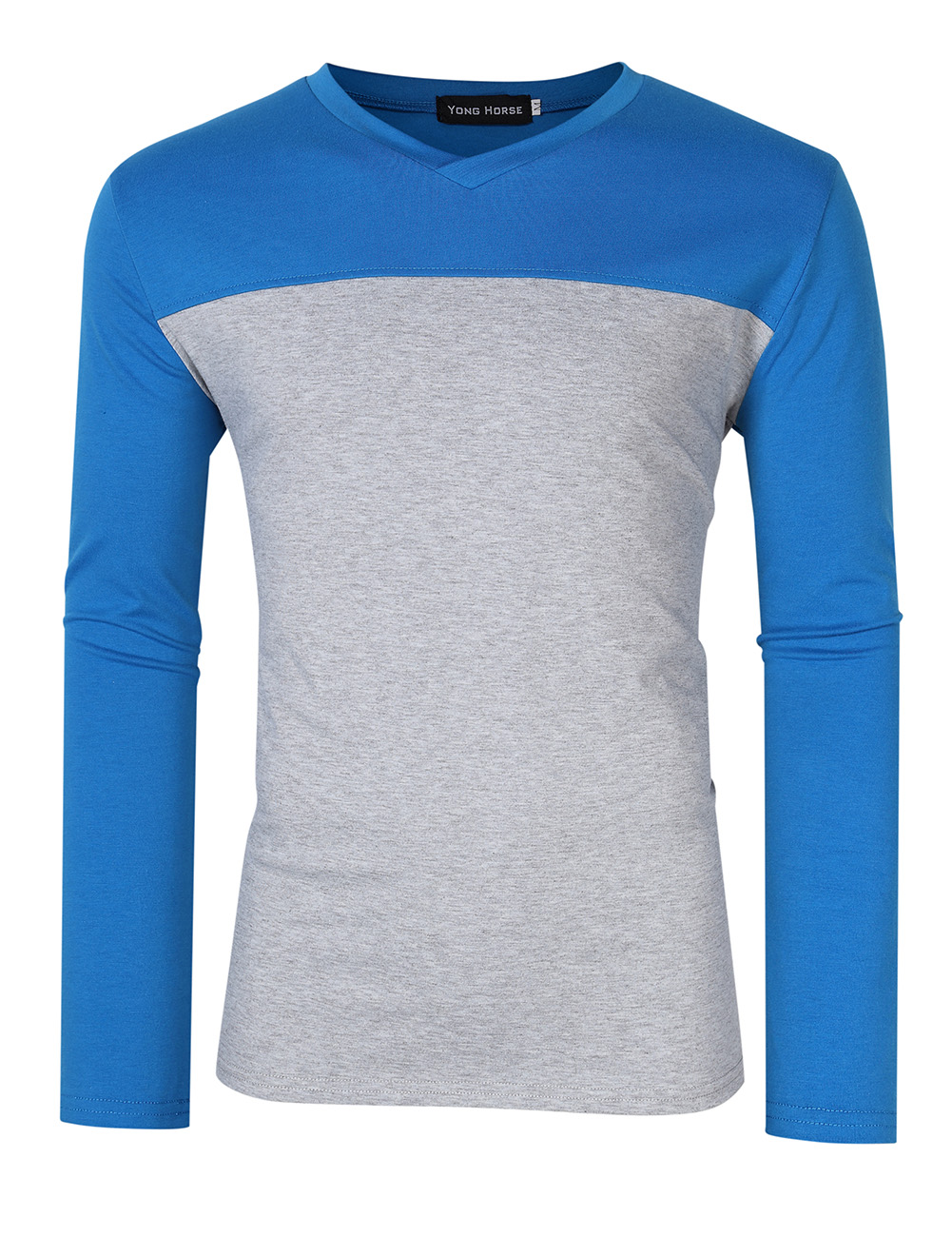 [US Direct] Yong Horse Men's Two Tone Slim Fit Long Sleeve Shirts V-Neck Basic Tee T-Shirt Top blue_L