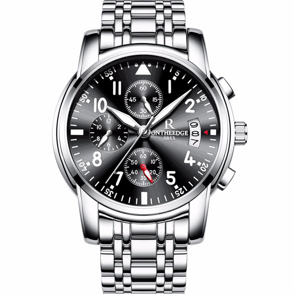 Men Multifunction Quartz Movement Steel Watch with 6 Pointers Black bottom silver edge