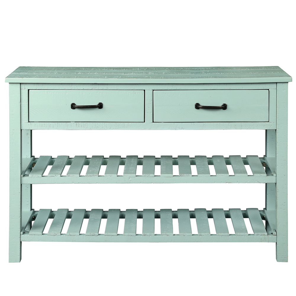 [US Direct] Retro Console  Table With Storage Drawers Shelf Living Room Entrance Furniture Antique blue