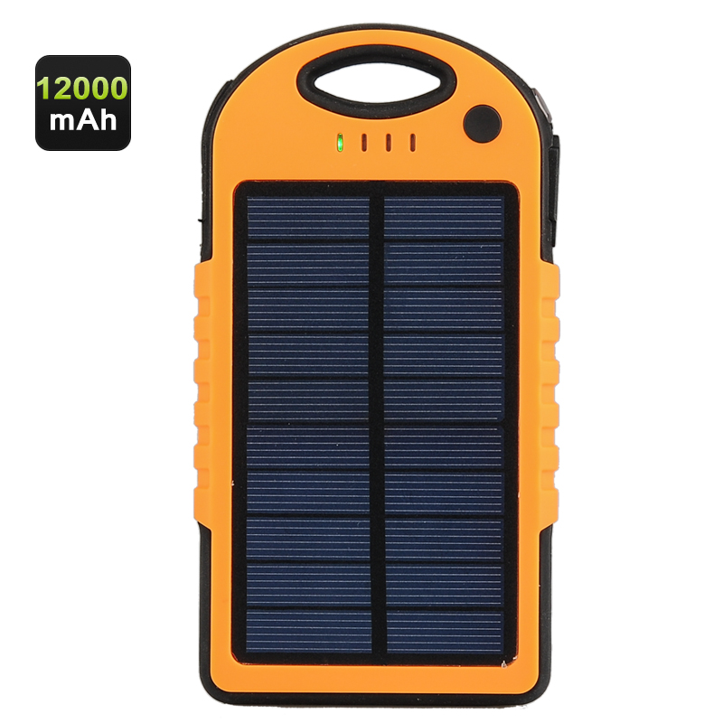 Rugged 12000mAh Solar Power Bank
