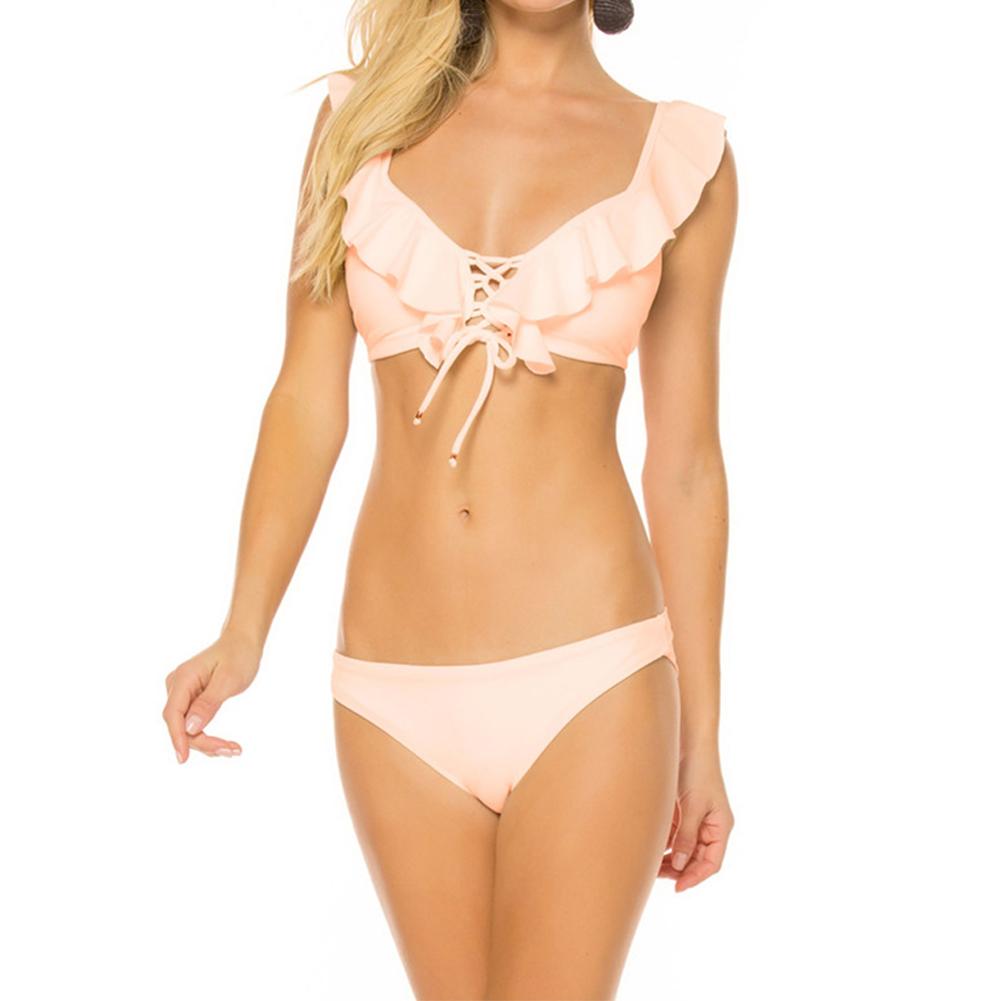 2pcs/set Women Pure Color Flounces Fashion Split Lacing Bikini Suit